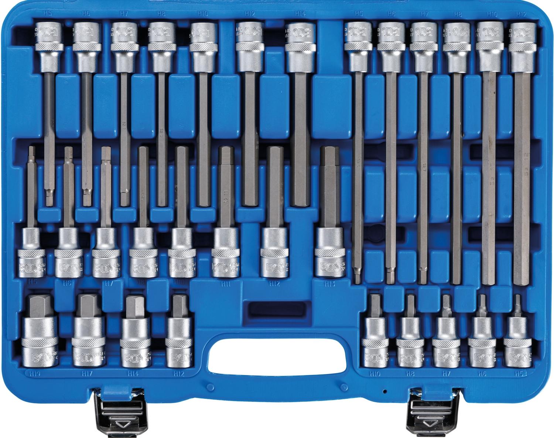 """BGS 5181 Bit Satz Innensechskant 30 teilig 55 100 140 200 mm Länge, 12,5mm (1/2"""") Antrieb"""