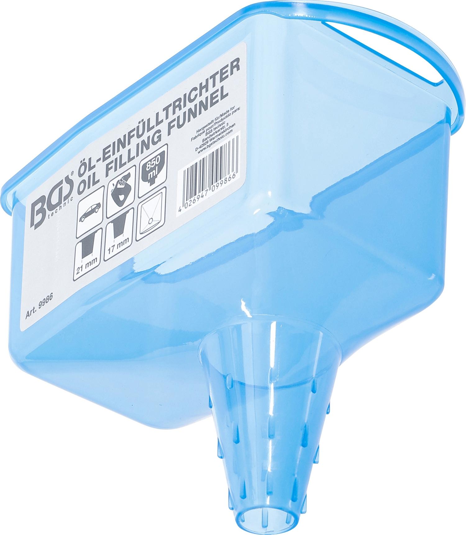 BGS 9986 Trichter zum Öleinfüllen, Öleinfülltrichter, blau, 850ml Resevoir