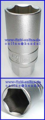 Nuss Stecknuss 21mm 3/8  Antrieb - für Zündkerzen / Opel Temperaturfühler