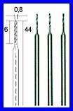 PROXXON 28852 HSS-Micro-Spiralbohrer Durchmesser 0,8mm 3 Stück/Pack