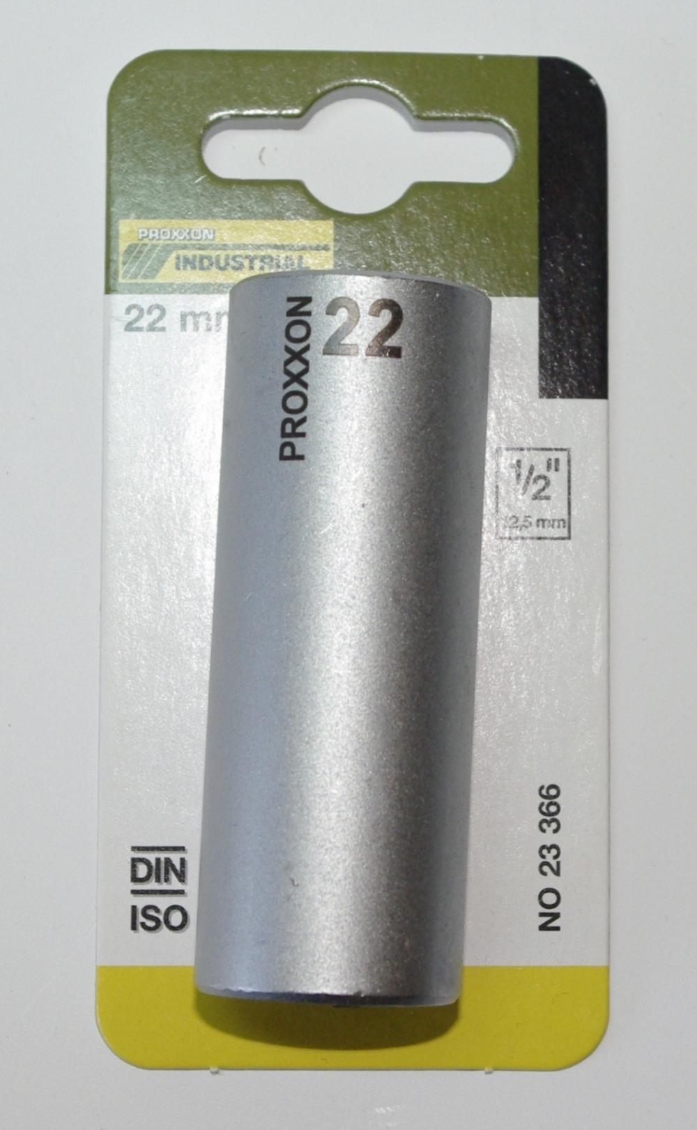 PROXXON 23366 Tiefbett Steckschlüsseleinsatz / Nuss 22mm Antrieb 12,5mm (1/2')