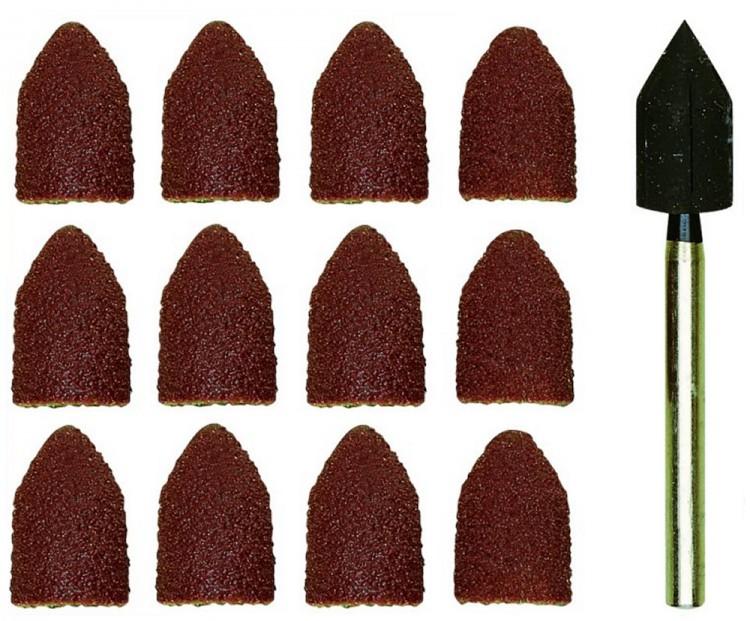 PROXXON 28987 Schleifkappenträger mit 10 Schleifkappen Korn 80 + 150