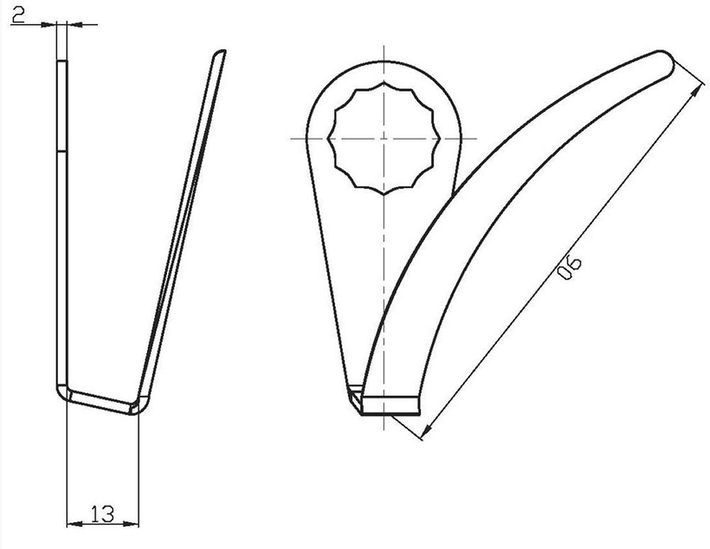 RODCRAFT U95 Schneidmesser Ausglasmesser U-Form 90mm - 8951010195