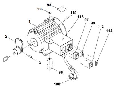 PROXXON 27094-01A Motor komplett für Dekupiersäge DS460
