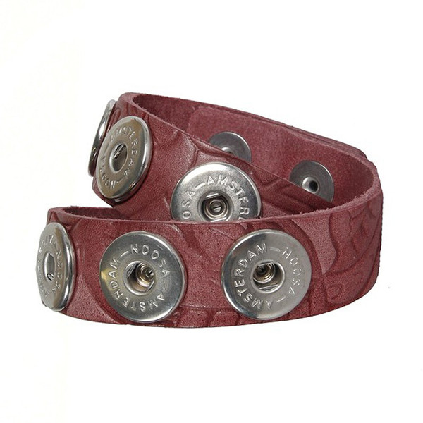 Noosa Armband double skinny Embossed Wine Red ohne Chunks
