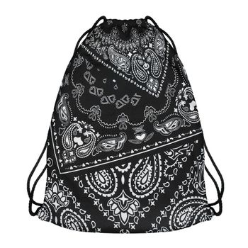 Modefreund Turnbeutel Sport & Freizeit Motiv Bag TrendPrints Gymsack - Black Bandana