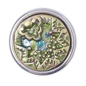 Noosa Petite Chunk PEAFOWL humble gold/ green- brass/ resin