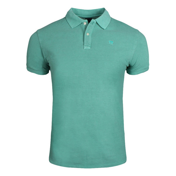 SCOTCH & SODA Garment-dyed Cotton Piqué Poloshirt Mint