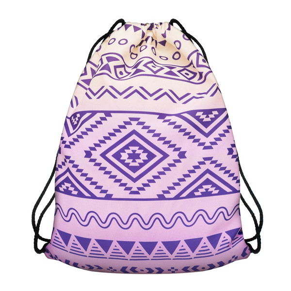 Modefreund Turnbeutel Sport & Freizeit Motiv Bag TrendPrints Gymsack - Lilac Aztec