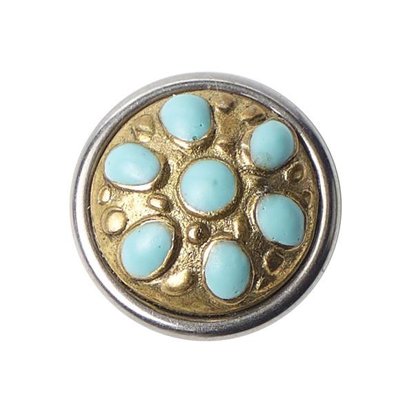 Noosa Petite Chunk Tara Maharani brass- resin (gold/ türkis)