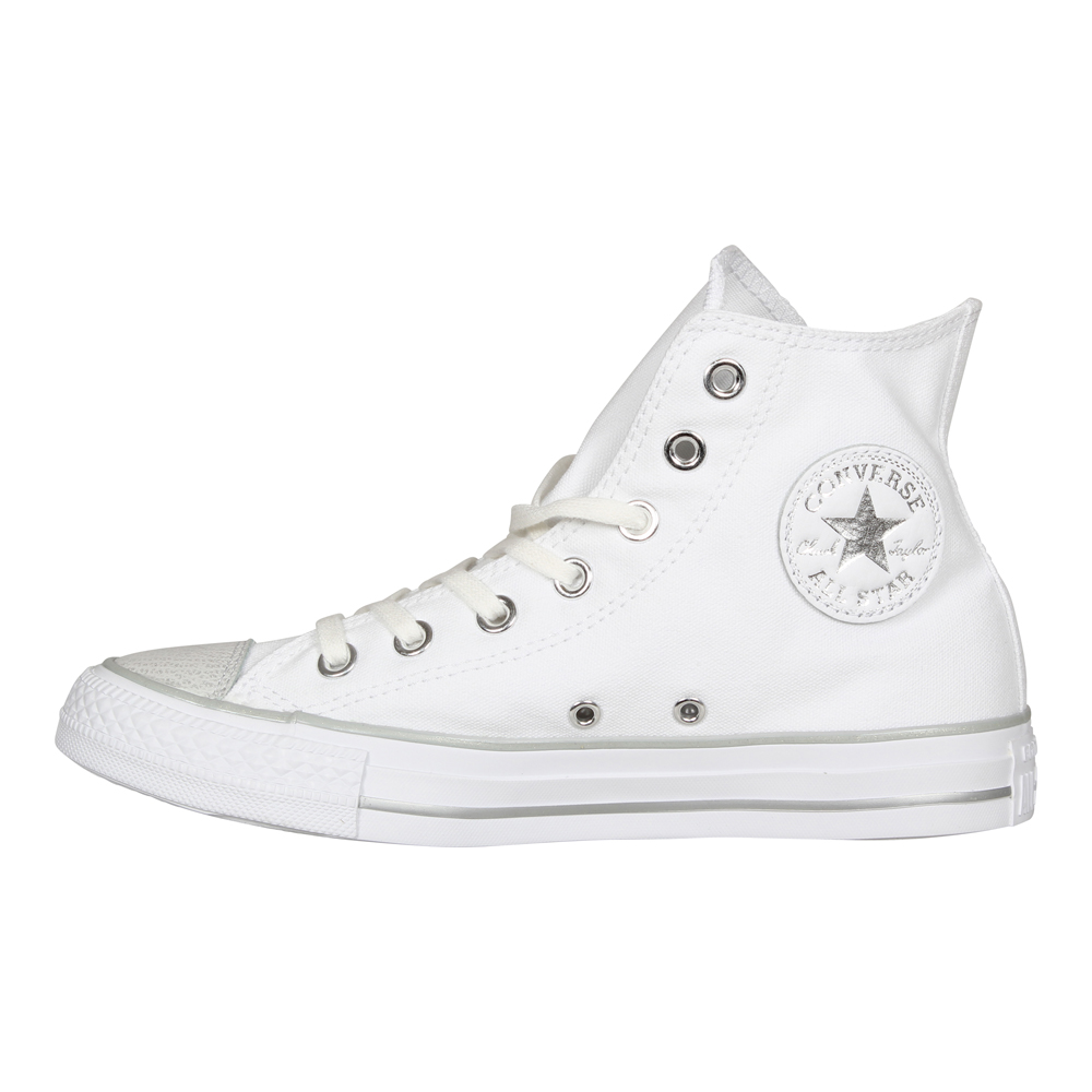 Details zu Converse Damen Chucks 559886C All Star High Sneaker Metallic  Finish Weiß Silver