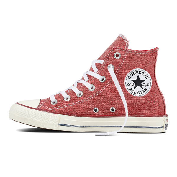 Converse Unisex Sneaker Chuck Taylor All Star High Stone Wash enamel red (rot)