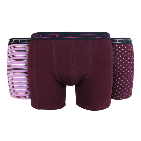 Scotch & Soda Herren Boxershorts 3-er Pack 145134 Bordeaux Geschenkbox