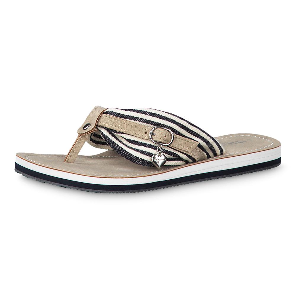 Details zu Tamaris Damen Pantolette Avril Latschen Sandalen Schuhe Navy Stripes (blau)