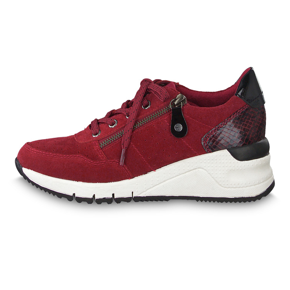 Details about Tamaris Women's Sneakers 23727 Zip Leather Scarlet Comb (Red)