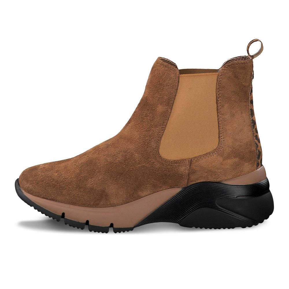 Details zu Tamaris Damen Stiefeletten 25441 Leder Boots Zebra Einsatz Plateau Cognac braun