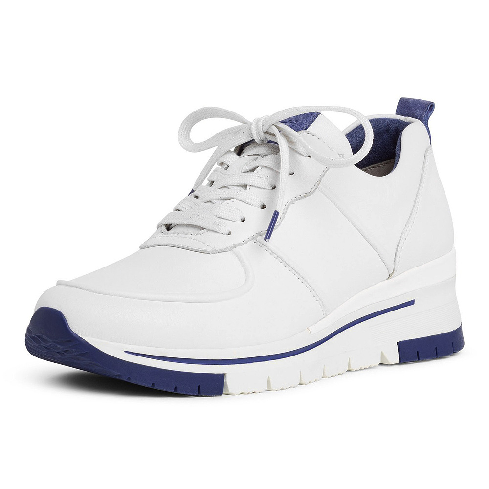 Tamaris Damen Sneaker Pure Relax 23745 Leder White Royal (weiß) | Modefreund Shop