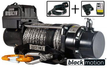 Elektrische Anhänger Offroad Seilwinde Black Motion® Stealth Synth 13000LB 5,9 t 12 V – Bild 1