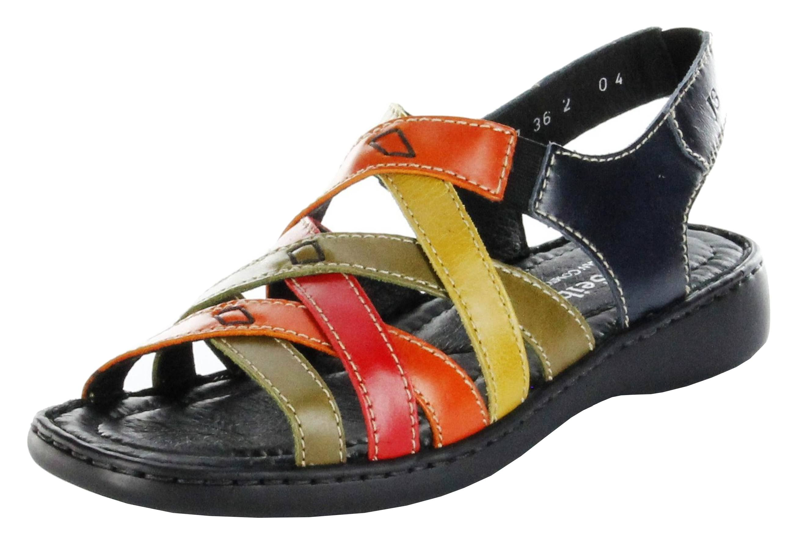 designer fashion later factory authentic Josef Seibel Sandaletten multicolor Lederdeck Keil Leder Damen Schuhe Lisa  03