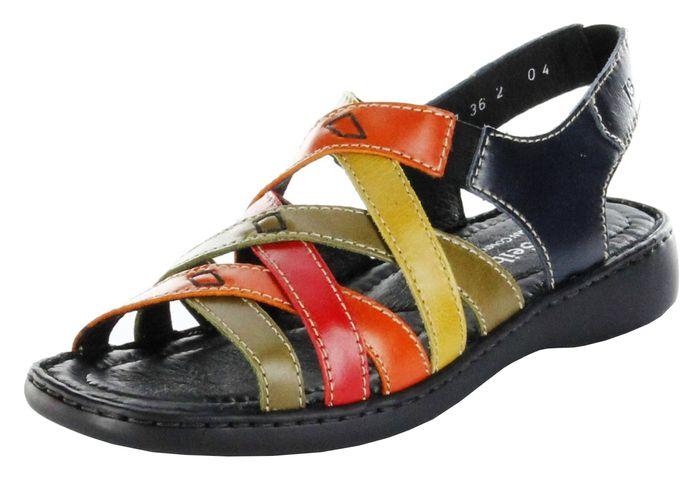 Josef Seibel Sandaletten multicolor Lederdeck Keil Leder Damen Schuhe Lisa 03