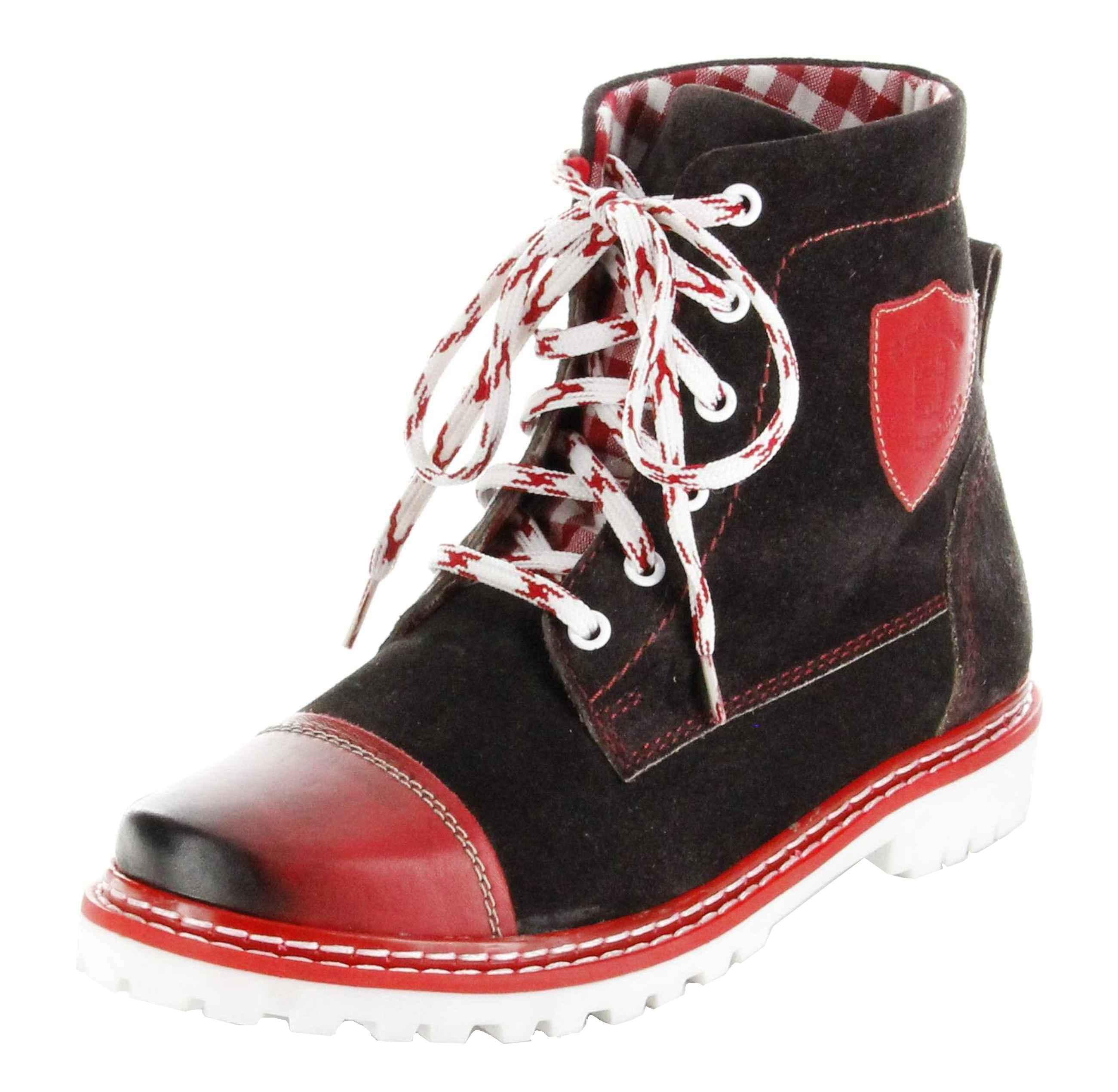 check out 406b5 d4b49 Bergheimer Trachtenschuhe Stiefel rot Leder Stiefelette Damen Schuhe Aflenz