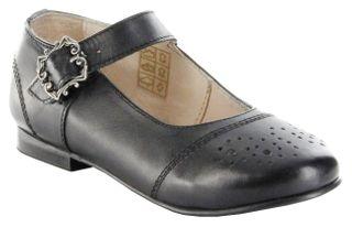 Bergheimer Trachtenschuhe Ballerinas Glattleder schwarz Mädchen-Schuhe Gitti – Bild 1