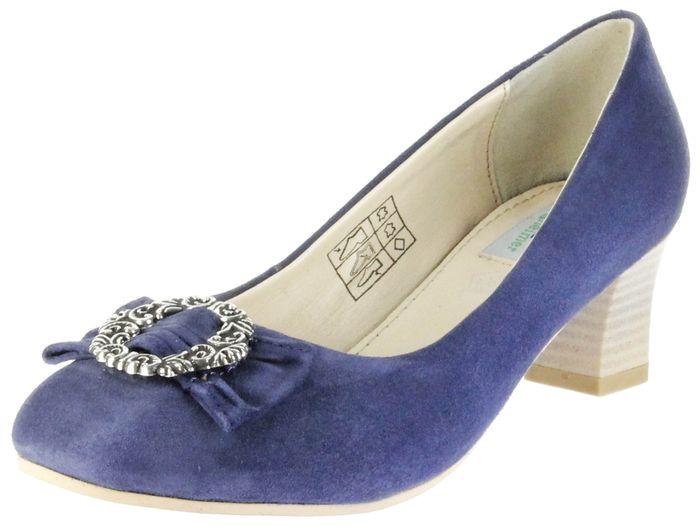 Bergheimer Trachtenschuhe Trachten Pumps blau Velourleder Damen Schuhe Luise