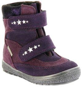 Richter Kinder Lauflerner-Stiefel SympaTex Warm Velourleder violett Mädchen-Schuhe 1537-833-7503 blackberry Star