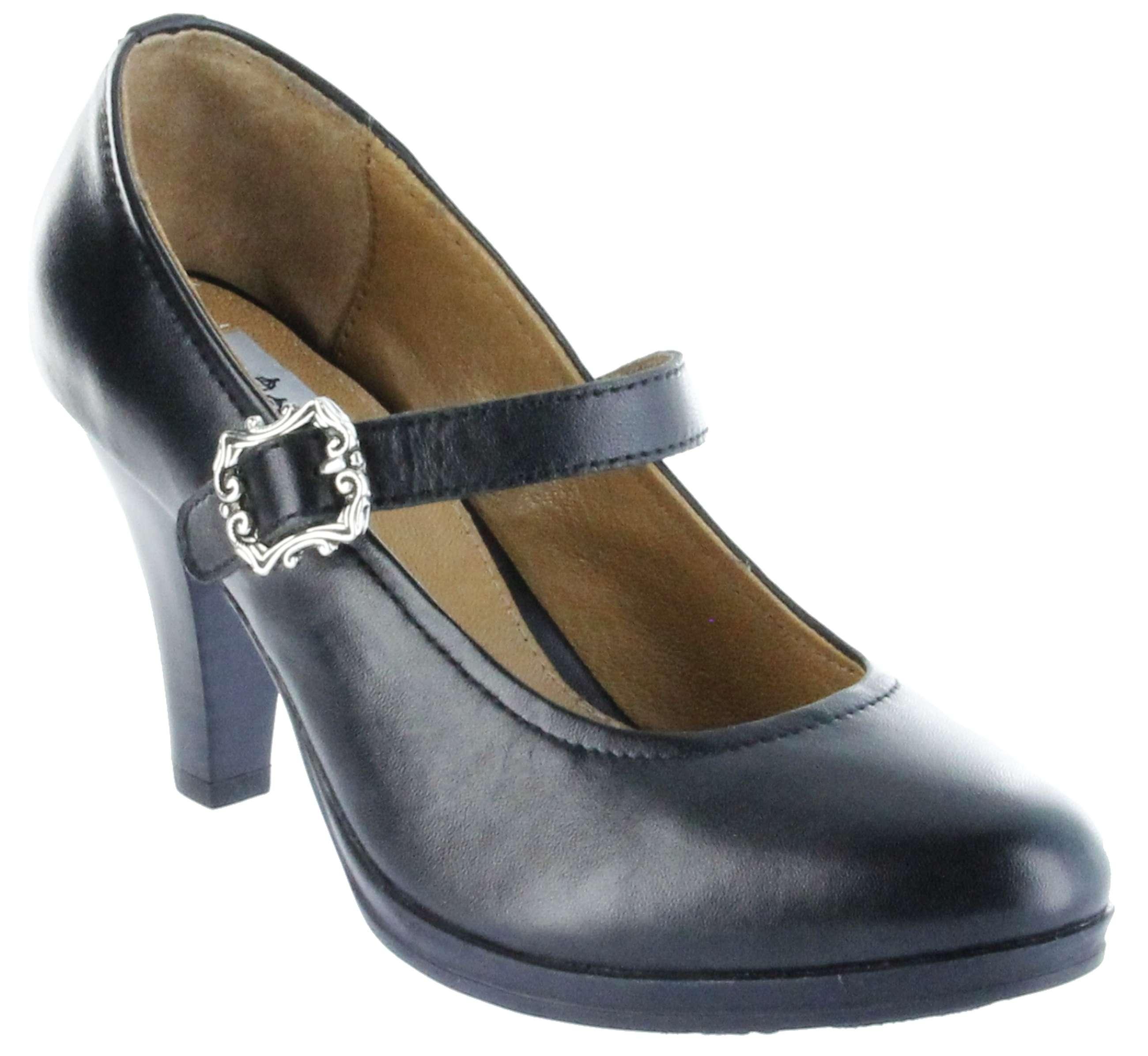 half off d4499 41fb8 Bergheimer Trachtenschuhe Trachten Pumps schwarz Leder Damen Schuhe Bärbel