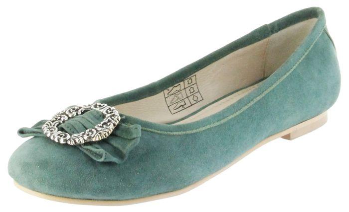 Bergheimer Trachtenschuhe Ballerinas grün Velour Leder Damen Schuhe Anna