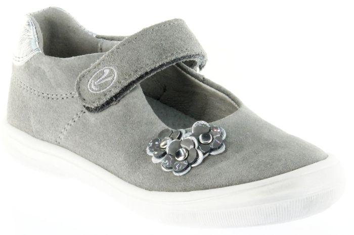 Richter Kinder Ballerinas-Spangenschuh Leder grau Mädchen Schuhe 3010-141-6101 Dandi