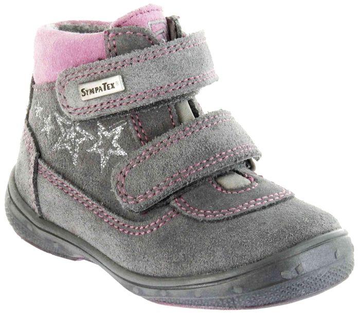 Richter Kinder Lauflerner grau Velourleder Warm SympaTex Klett Mädchen Schuhe 1532-242-6301 ash Patty S