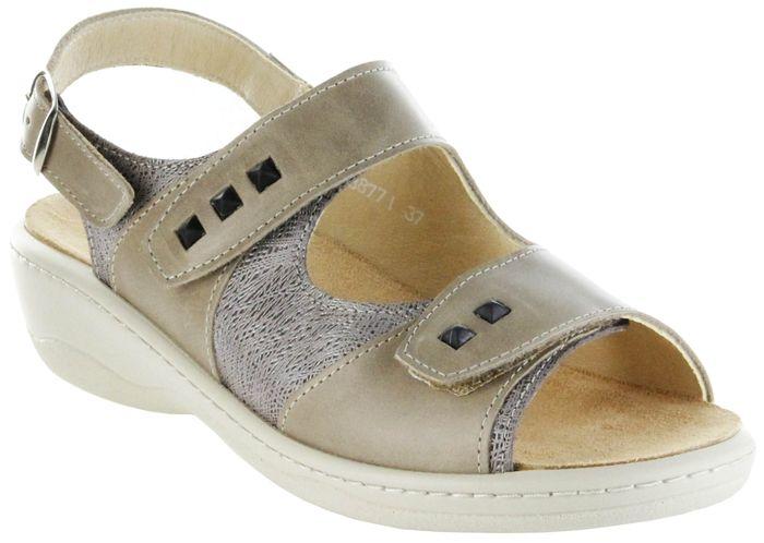 Hauer Wohlfühl-Pantoletten Damen beige Leder Wechselfußbett atmungsaktiv chromfrei rutschhemmende Sohle Klett Sandale 138771-165 earth LISA13