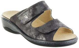 Hauer Wohlfühl-Pantoletten grau Leder Wechselfußbett atmungsaktiv chromfrei rutschhemmende Sohle Klett Damen 132271-806 LISA13