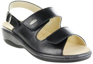 Hauer Wohlfühl-Pantoletten Damen schwarz Leder Wechselfußbett atmungsaktiv chromfrei rutschhemmende Sohle Klett Sandale 138541-809 LISA13 – Bild 1