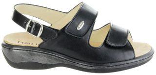 Hauer Wohlfühl-Pantoletten schwarz Leder Wechselfußbett atmungsaktiv chromfrei rutschhemmende Sohle Klett Sandale Damen 138541-809 LISA13 – Bild 2