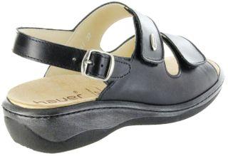 Hauer Wohlfühl-Pantoletten Damen schwarz Leder Wechselfußbett atmungsaktiv chromfrei rutschhemmende Sohle Klett Sandale 138541-809 LISA13 – Bild 3