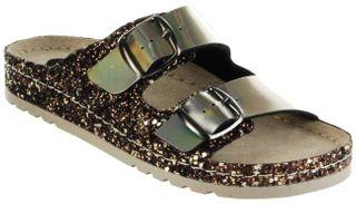Bioline Bios Sandalen Hausschuhe Lederdeck gold leicht non-marking Sohle Damen Schuhe – Bild 1