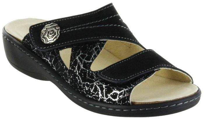 Belvida Wohlfühl-Pantoletten schwarz Leder Wechselfußbett rutschhemmende Sohle Klett Damen Schuhe 42.455