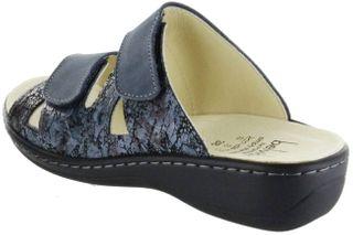 Belvida Wohlfühl-Pantoletten blau Leder Wechselfußbett rutschhemmende Sohle Klett Damen Schuhe 42.436 – Bild 3
