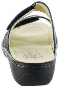 Belvida Wohlfühl-Pantoletten blau Leder Wechselfußbett rutschhemmende Sohle Klett Damen Schuhe 42.436 – Bild 4