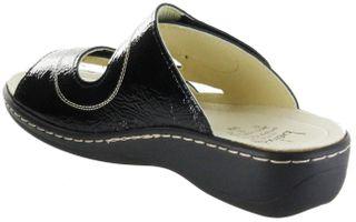 Belvida Wohlfühl-Pantoletten schwarz Leder Wechselfußbett rutschhemmende Sohle Klett Damen Schuhe 42.452 – Bild 5