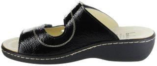 Belvida Wohlfühl-Pantoletten schwarz Leder Wechselfußbett rutschhemmende Sohle Klett Damen Schuhe 42.452 – Bild 7
