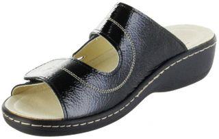 Belvida Wohlfühl-Pantoletten schwarz Leder Wechselfußbett rutschhemmende Sohle Klett Damen Schuhe 42.452 – Bild 8