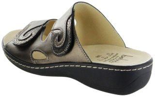 Belvida Wohlfühl-Pantoletten bronze Leder Wechselfußbett rutschhemmende Sohle Klett Damen Schuhe 42.463 – Bild 3