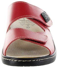 Belvida Wohlfühl-Pantoletten rot Leder Wechselfußbett rutschhemmende Sohle Klett Damen Schuhe 10219 – Bild 9
