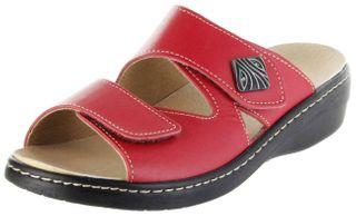 Belvida Wohlfühl-Pantoletten rot Leder Wechselfußbett rutschhemmende Sohle Klett Damen Schuhe 10219 – Bild 1