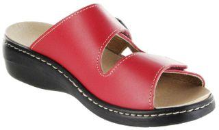 Belvida Wohlfühl-Pantoletten rot Leder Wechselfußbett rutschhemmende Sohle Klett Damen Schuhe 10219 – Bild 8