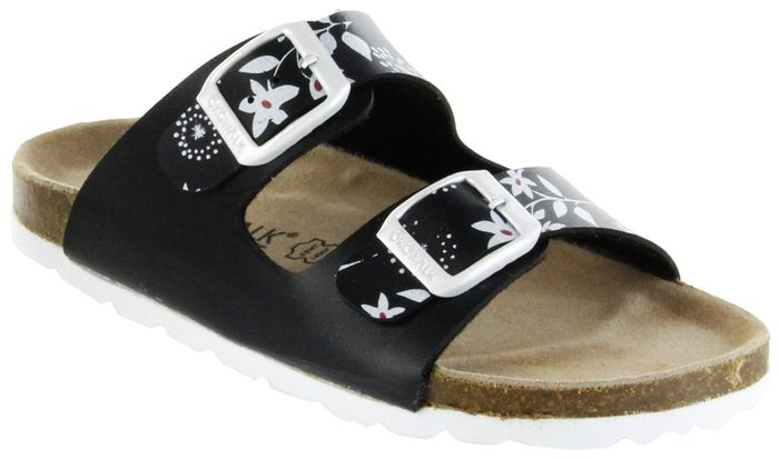 ÖkoWalk Bios Sandalen Hausschuhe Lederdeck schwarz leicht non-marking Sohle Kinder Schuhe Melody