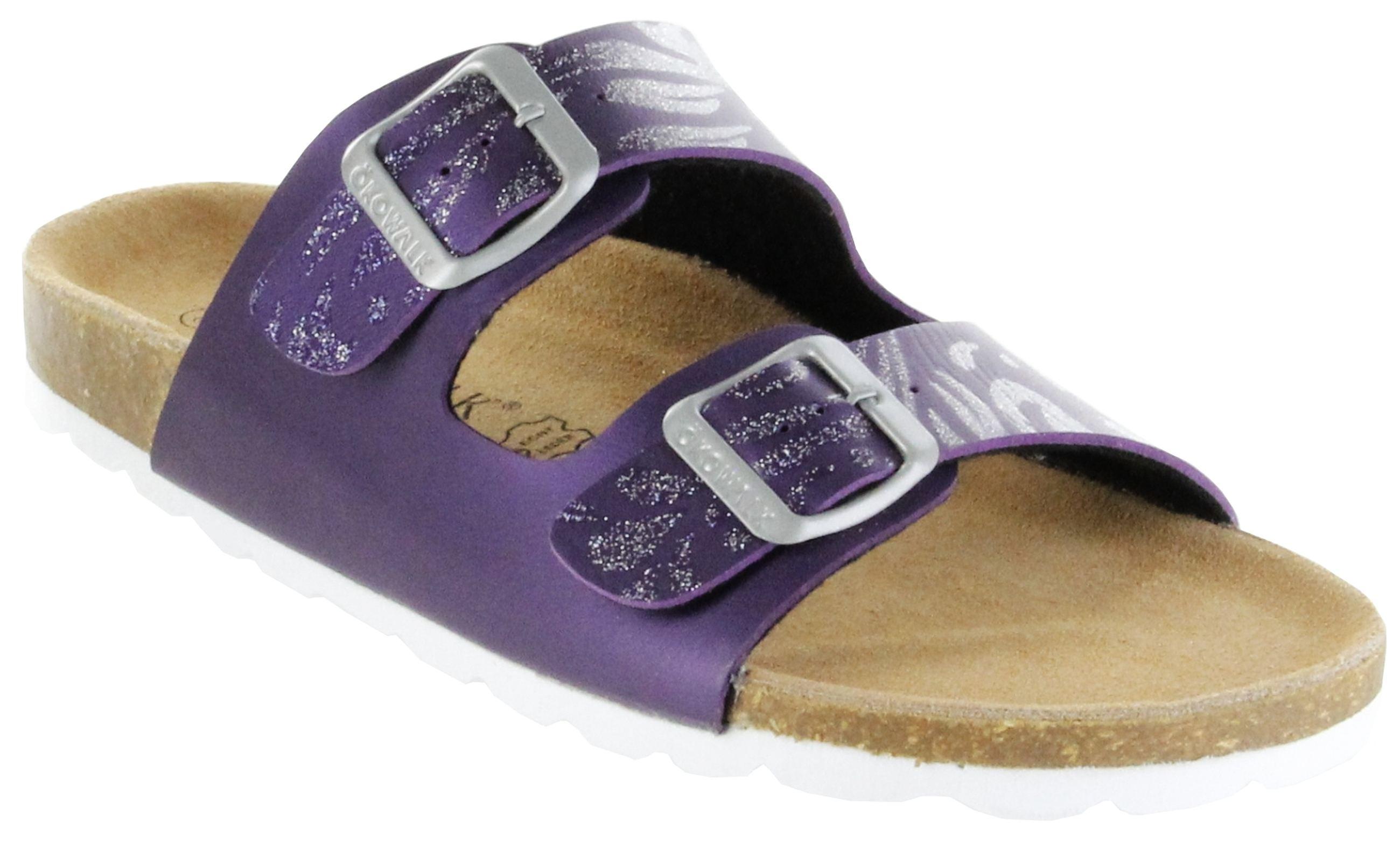 7284ef58fc76 ÖkoWalk Bios Sandalen Hausschuhe Lederdeck purple leicht non-marking Sohle Damen  Schuhe Victoria